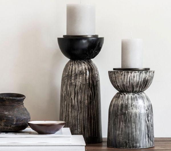 Must-Living Teak Holz Kerzenständer Light H 35 cm grau
