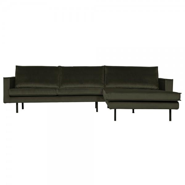 Eckgarnitur Rodeo Samt dunkelgrün Couch Sofa Ecksofa Longchair rechts