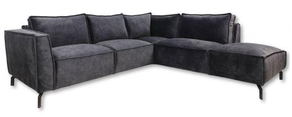 Eckgarnitur Morgan 2,5 Sitzer Velour dunkelgrau Samt Couch Sofa Ecksofa Longchair rechts