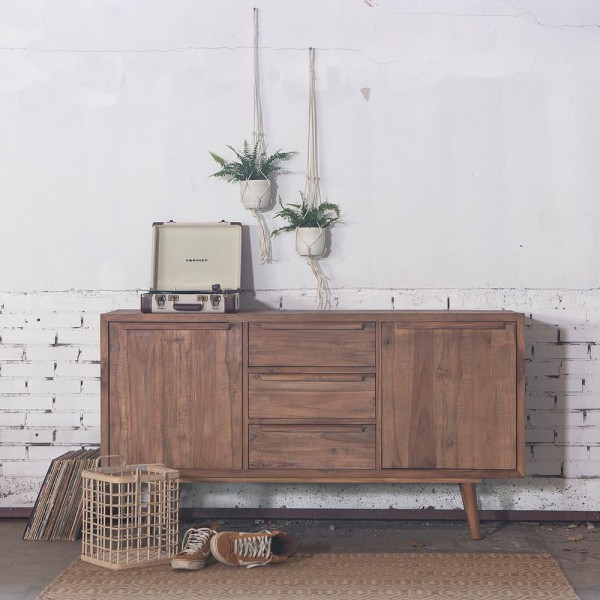 Retro Massivholz Sideboard B 156 cm Teak Holz mit 2 Türen und 3 Schubladen