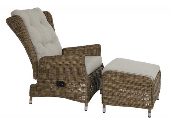 Lounge Set Vallmo Sessel verstellbar mit Hocker Polyrattan incl. Polster