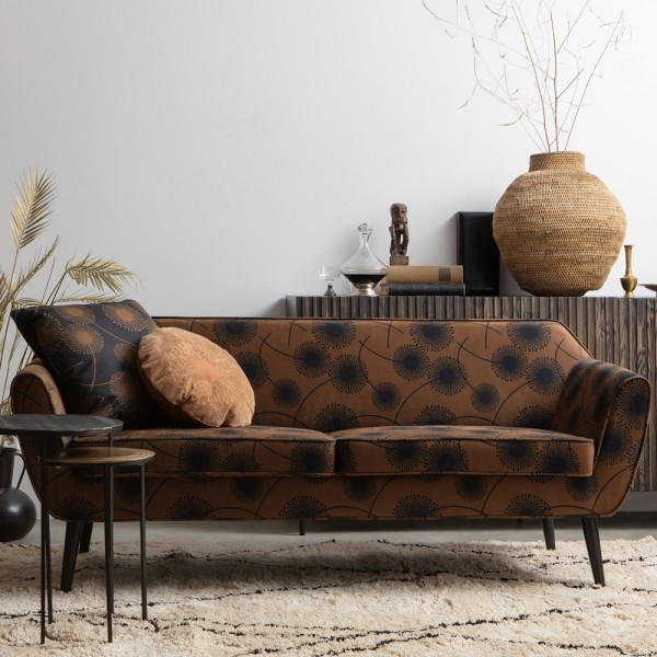 wooood 2,5 Sitzer Sofa Rocco Samt mit Blumen Print