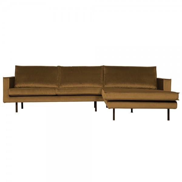 Eckgarnitur Rodeo Samt honiggelb Couch Sofa Ecksofa Longchair rechts