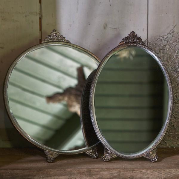BePureHome Standspiegel POSH rund Metall Tischspiegel antikmessing