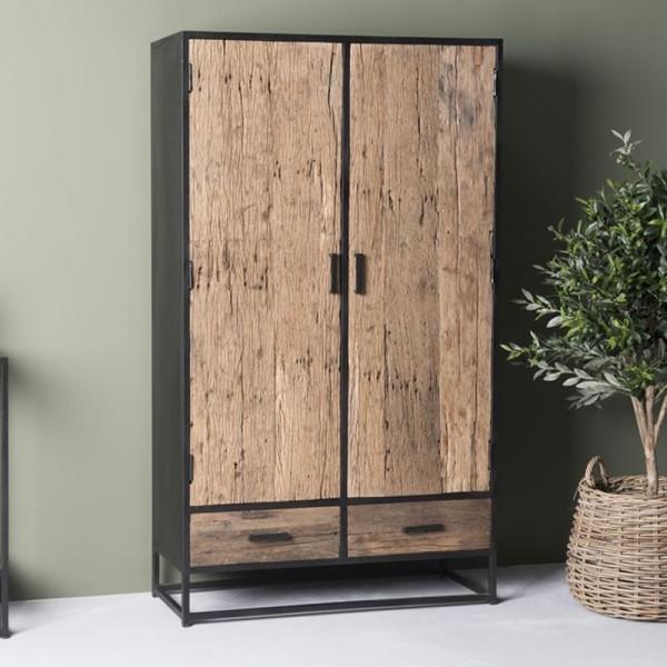 Schrank Dakota 100 cm 2 Türen Massivholz Metall schwarz