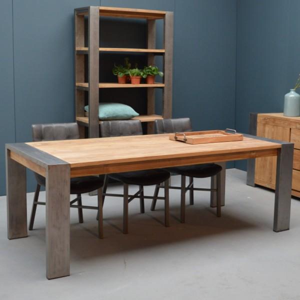 Esstisch INDUSTRIAL Teakholz Metall Holztisch Dinnertisch Tisch Esszimmertisch