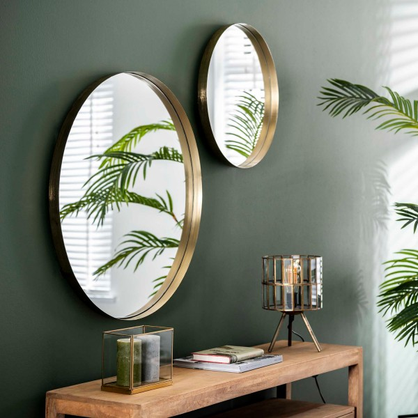 Wandspiegel Ø 50 cm Metallrahmen goldfarben Spiegel Dekospiegel
