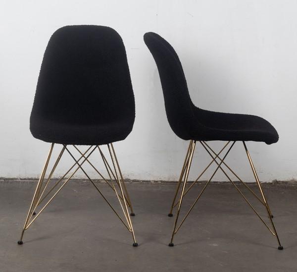 2er Set Stuhl Esszimmerstuhl Luxe Stoff schwarz Beine gold