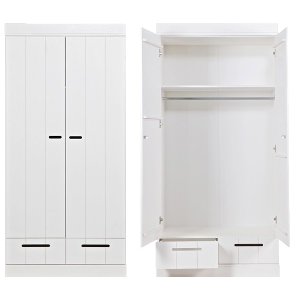 woood Kleiderschrank System CONNECT BASIC Kiefer 2 Türen + Schubladen