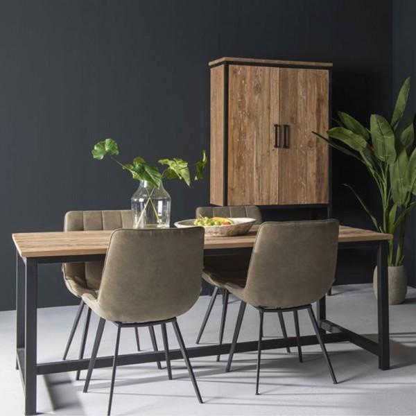 Esstisch Montreal 220 x 100 cm Massivholz Metall schwarz