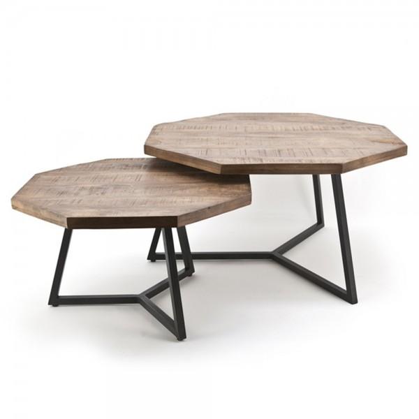 2er Set Couchtisch Beistelltisch OCTAGON Mango Holz