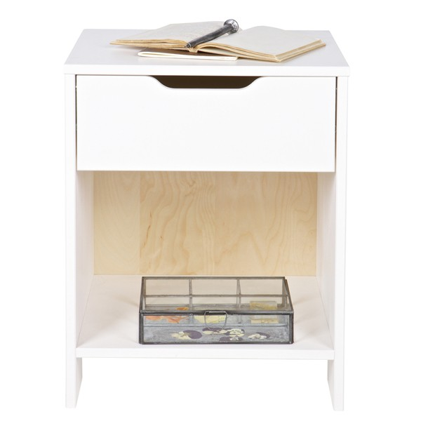 Nachttisch NIKKI Tisch Kiefer weiß Beistelltisch Nachtschränkchen Nachtkonsole