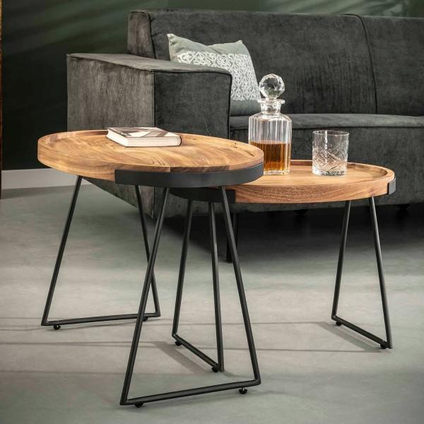 2er Set Beistelltisch oval Akazie Massivholz Metall Anstelltisch Couchtisch