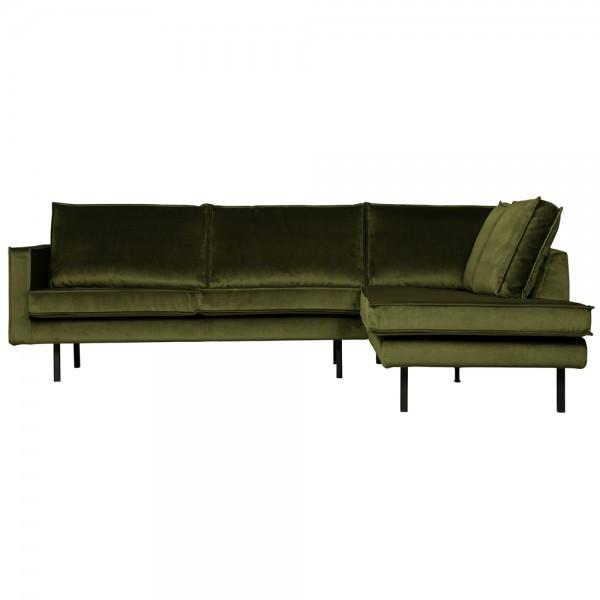 Eckgarnitur Rodeo Samt olive Couch Sofa Ecksofa Longchair rechts