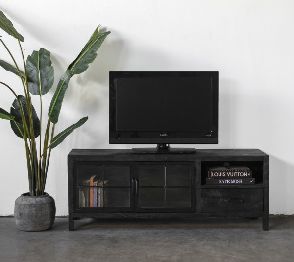 Industrie Metall TV Lowboard 145 cm Izou mit Mangoholz schwarz