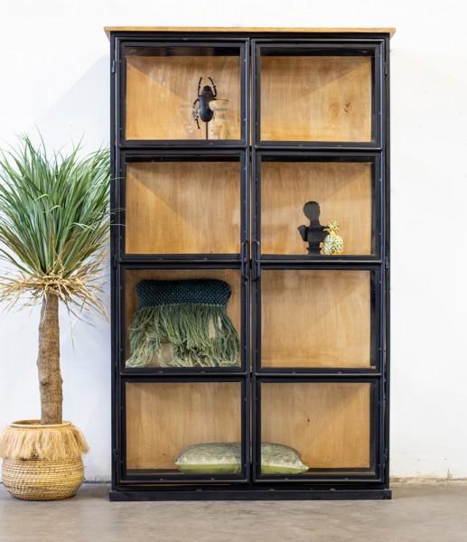 Vitrine TAVI Holz Metall 120 x 200 cm Glasvitrine schwarz