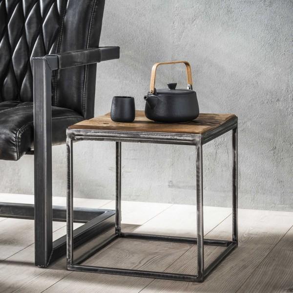 Beistelltisch Rustic 40 x 40 cm Couchtisch Sofatisch Tisch Hartholz Metall