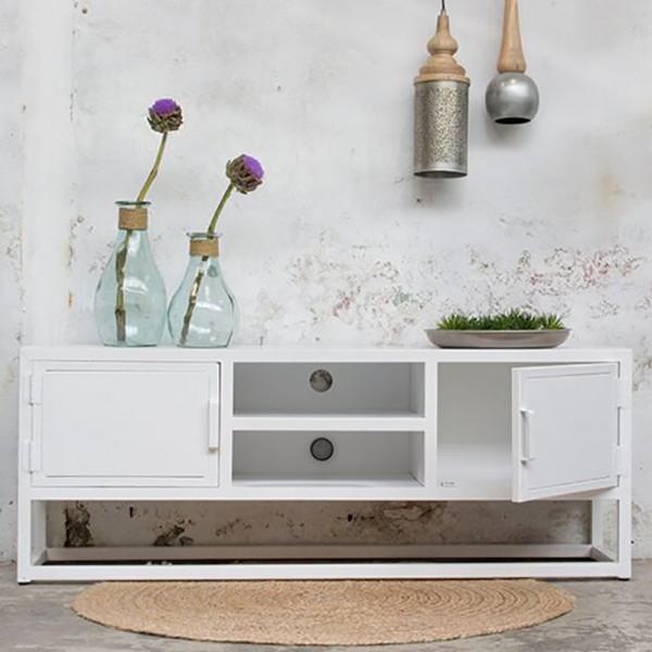 industrie design tv m bel urban tisch fernseh kommode rack board metall vintage wei new. Black Bedroom Furniture Sets. Home Design Ideas