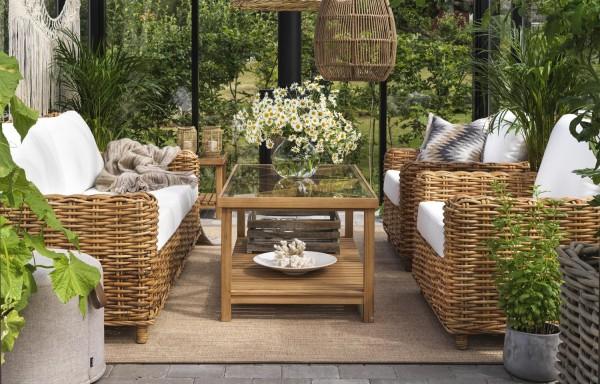 Garten Lounge Gruppe Natur Rattan ROSSVIK Sofa und Sessel