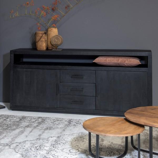 Sideboard Jaxx B 180 cm Mango Massivholz schwarz