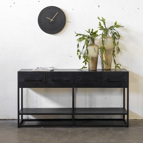 Industrie Sideboard Donny 140 cm Konsole schwarz Metall