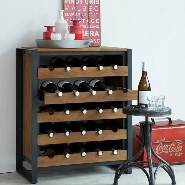d-Bodhi Weinregal Fendy mit 5 Schubladen Flaschenregal Holzregal Flaschenständer Regal