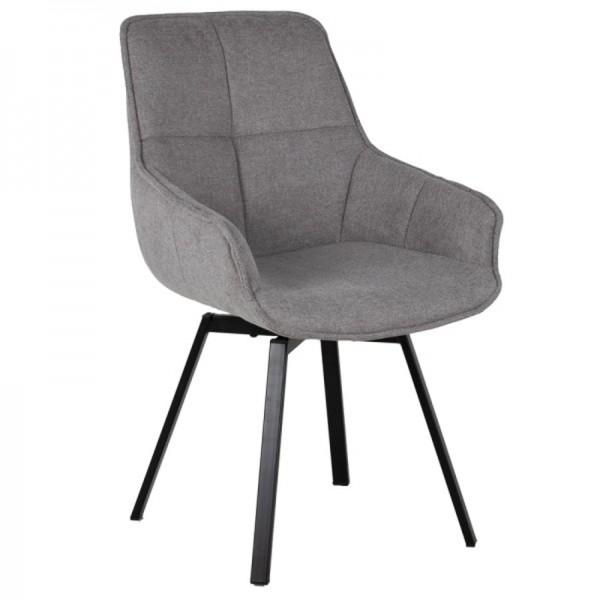 Esstischstuhl Stuhl drehbar Shannon Stoffbezug grau