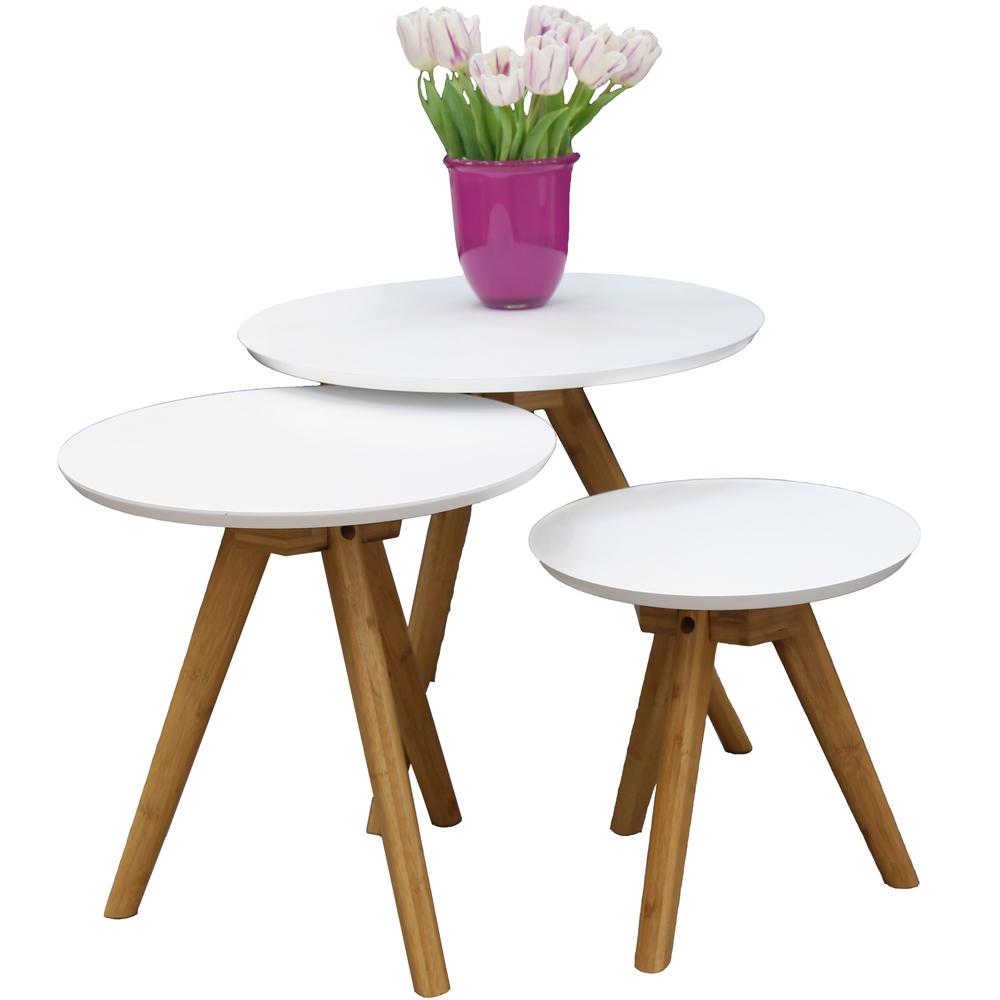 3er set beistelltisch dakota wei satztische beistelltisch. Black Bedroom Furniture Sets. Home Design Ideas