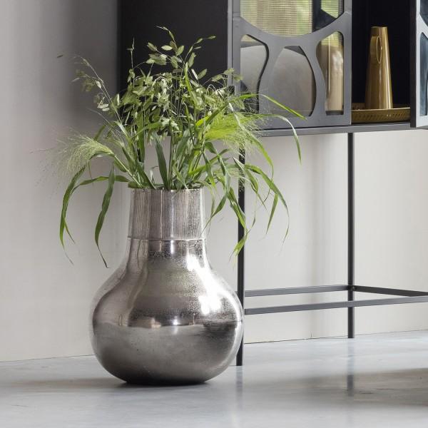 Aluminium Vase XL Ø 36 cm silber Blumenvase Bodenvase