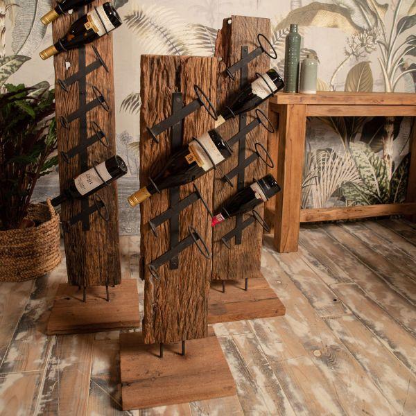 Weinflaschenhalter Flaschenständer H 110 cm 6 Flaschen Teakholz
