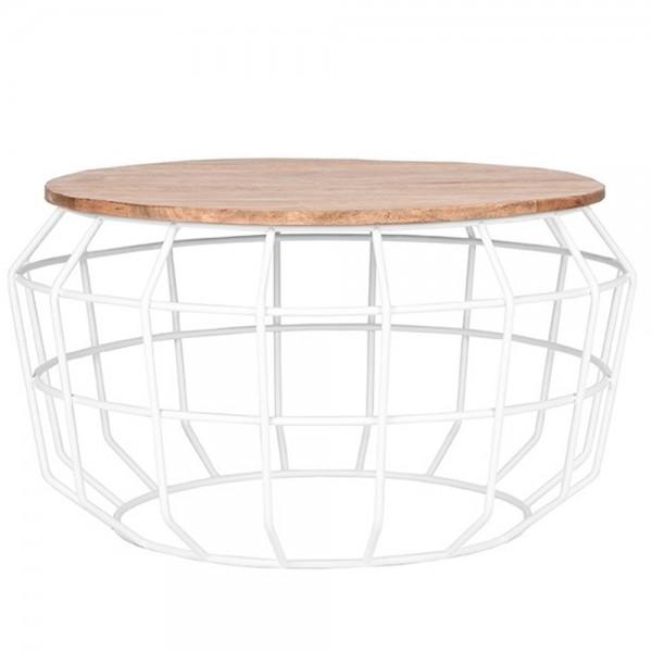 Couchtisch Pixel Ø 77 cm Massivholz Metall weiß Sofatisch Beistelltisch Tisch