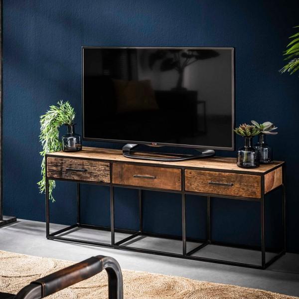Vintage TV Möbel River 135 cm Lowboard Hartholz Metall Fernseh Board TV-Board