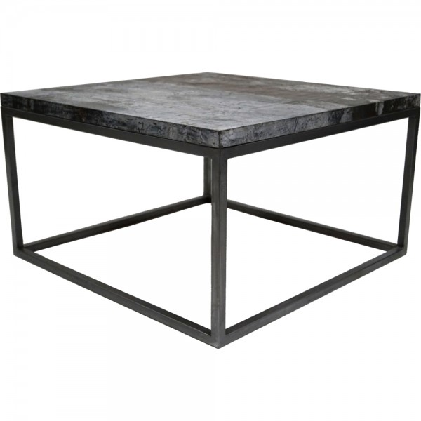 Industrie Design Couchtisch 70 x 70 cm Metall rustikal Holz Sofatisch Tisch Beistelltisch