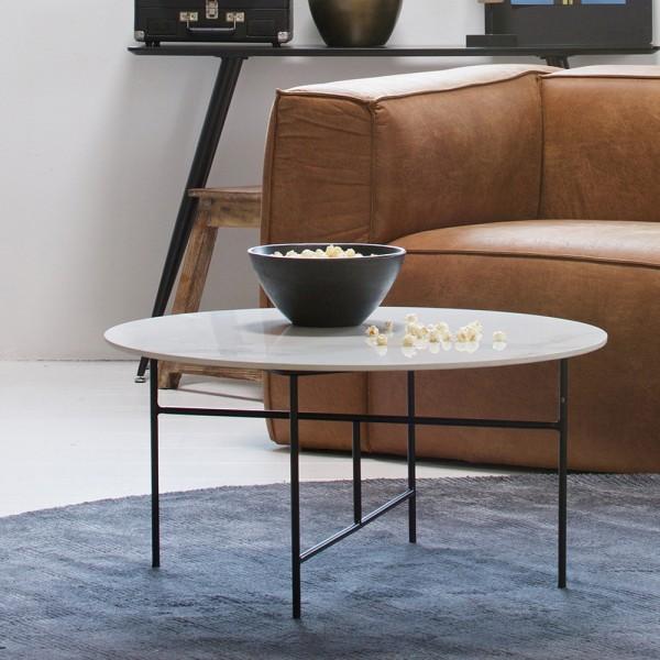 Couchtisch VIDA Ø 80 cm Beistelltisch Sofatisch Tisch Marmoroptik weiß