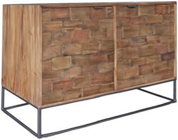 MUST Living Kommode Sideboard Blockx 105 cm Teak Holz Metall