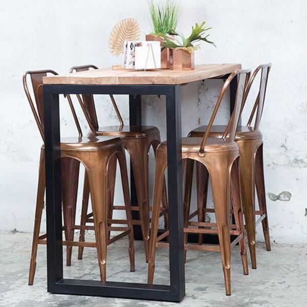 Industrie Design Bartisch JACK 140 x 70 cm Stehtisch Bistrotisch Bartresen Metall schwarz