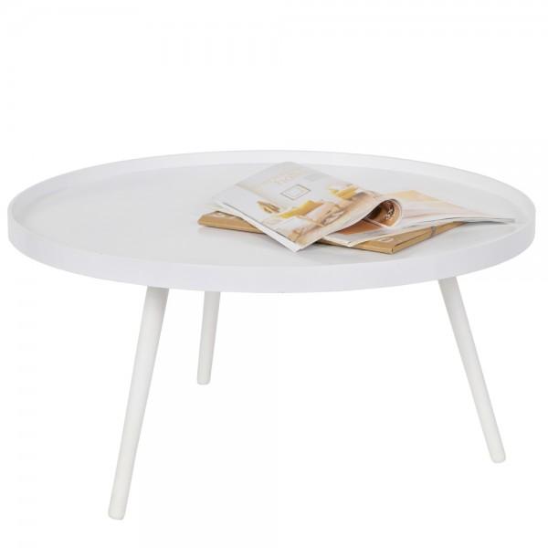 Beistelltisch Couchtisch MESA Ø 78 cm Tisch Kaffeetisch Sofatisch MDF weiß