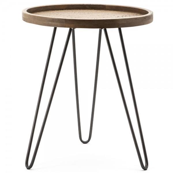Beistelltisch Drax Ø 45 cm Anstelltisch Sofatisch Tisch Eiche braun Couchtisch