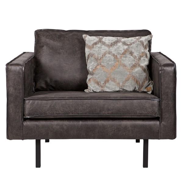 Sessel Sofa RODEO Echtleder Leder Lounge Couch Armsessel Vintage schwarz