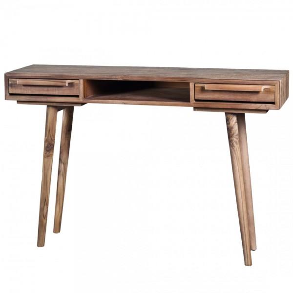 Retro Massivholz Konsole B 120 cm Teak Holz mit 2 Schubladen