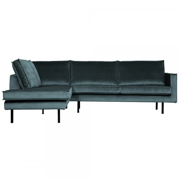 Eckgarnitur Rodeo Samt blaugrün Couch Sofa Ecksofa Longchair links