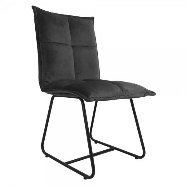 2er Set Stuhl Estelle dunkelgrau Samt Velvet Kufenstuhl Esszimmerstuhl Küchenstuhl