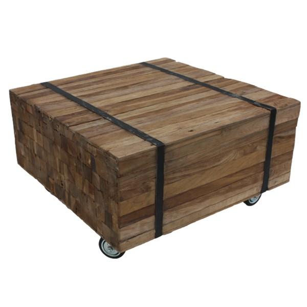 Vintage Couchtisch 100 x 100 cm Massivholz Leisten rollbar Sofatisch Tisch Holz