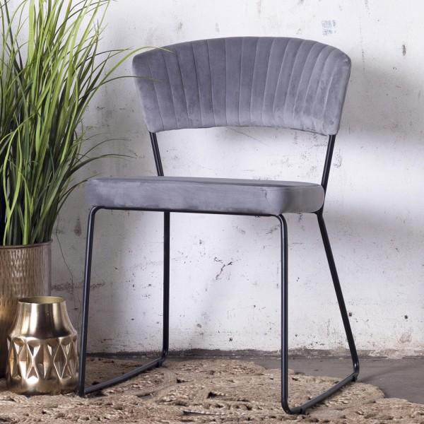 2´er Set Esszimmerstuhl Grace Velvet Samt grau Stuhl