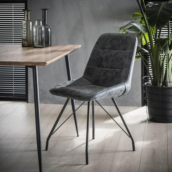 4er Set Stuhl Gitter Kunstleder schwarz PU Esszimmerstuhl Dinnerstuhl Esstischstuhl