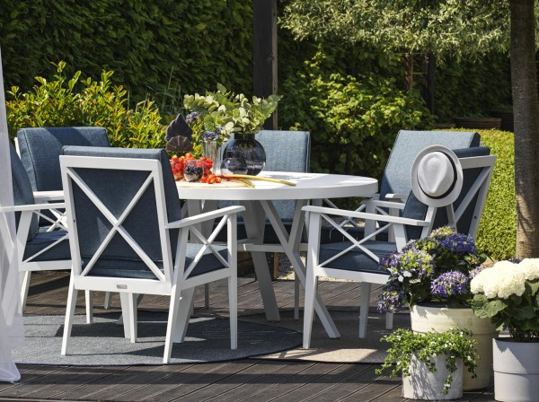 5 tlg. Gartenmöbel Essgruppe Aluminium weiss incl. blaue Kissen