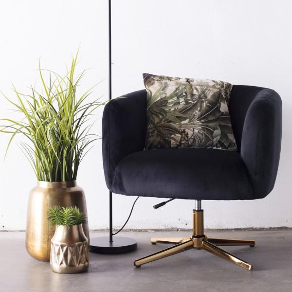 Lounge Sessel Lisa Samt schwarz Gestell Gold