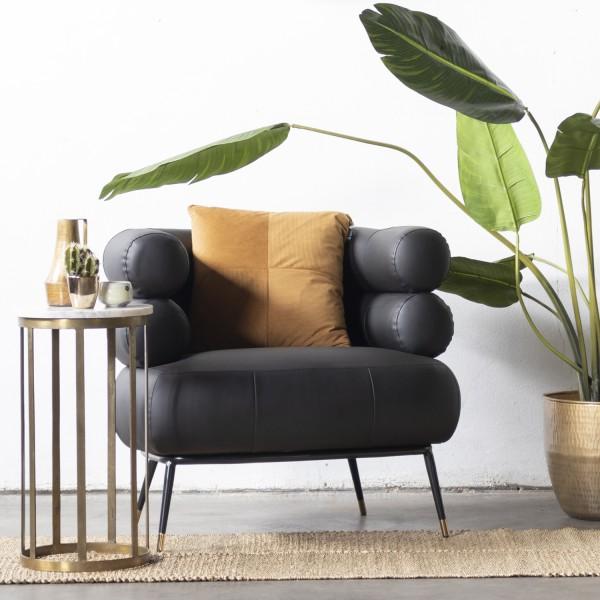 GIGA Lounge Sessel Kunstleder schwarz Polstersessel