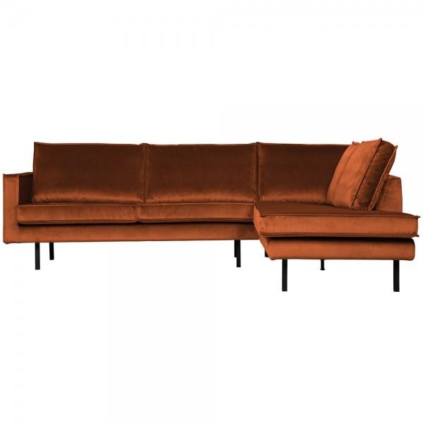 Eckgarnitur Rodeo Samt rostfarben Couch Sofa Ecksofa Longchair rechts