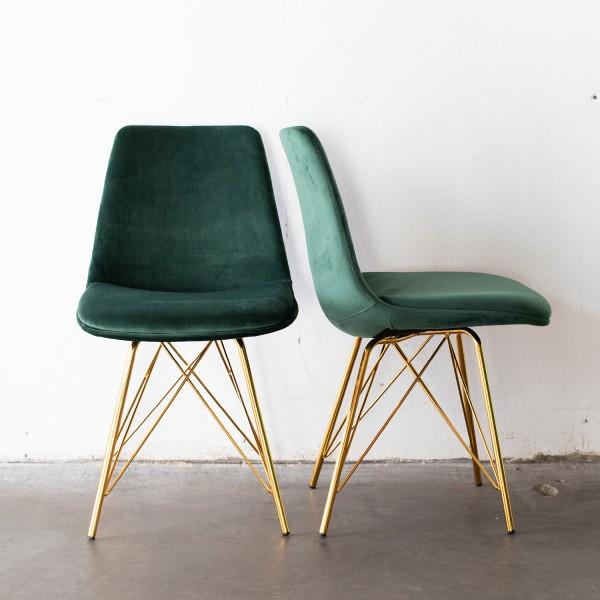 2er Set Stuhl Esszimmerstuhl Livo Samt dunkelgrün Beine Gold